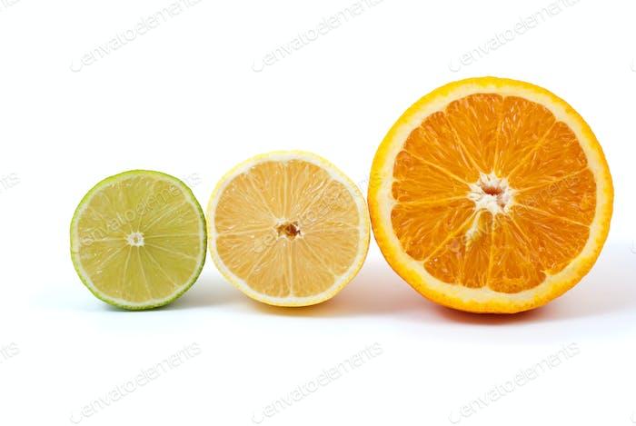 Halves of orange, lemon and lime