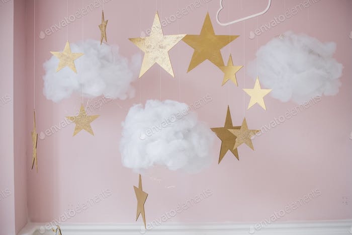 Picture of pretty stars and clouds hanging decoration for kids