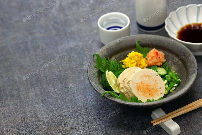 ankimo, steamed monkfish liver, japanese cuisine