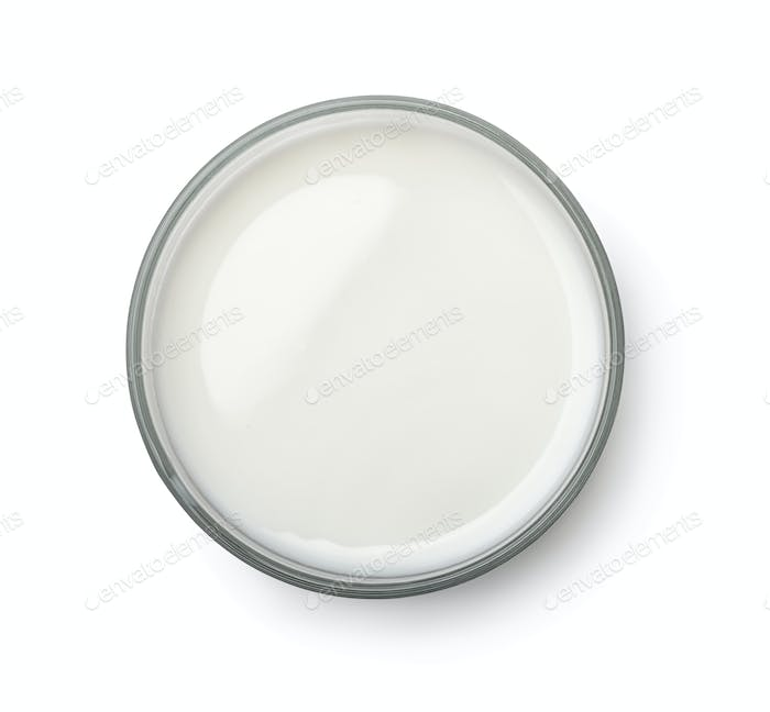 Top view of milk glass