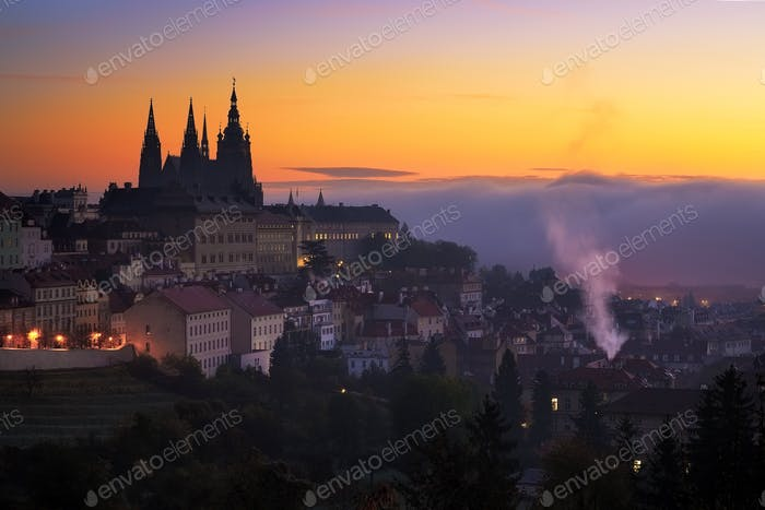 Morning view at Saint Vitus cathedral in Prague, Czech republic.