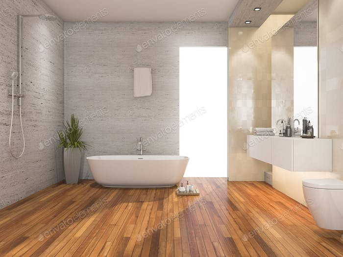 3d rendering wood bright bathroom and shower with modern decor