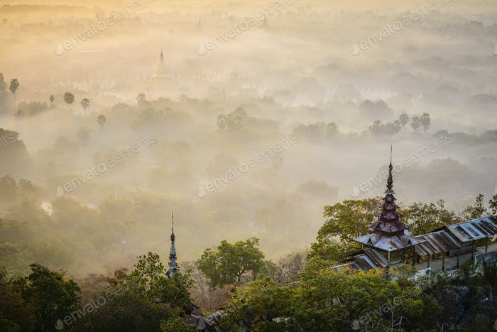 55198,Fog over treetops, Mayanmar, Mandalay, Myanmar