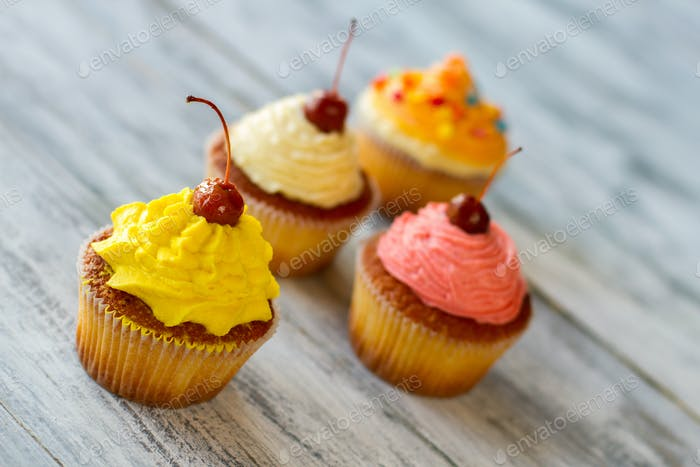 Cupcakes on gray background