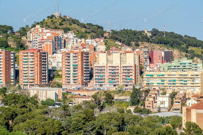 Barcelona residential district cityscape view