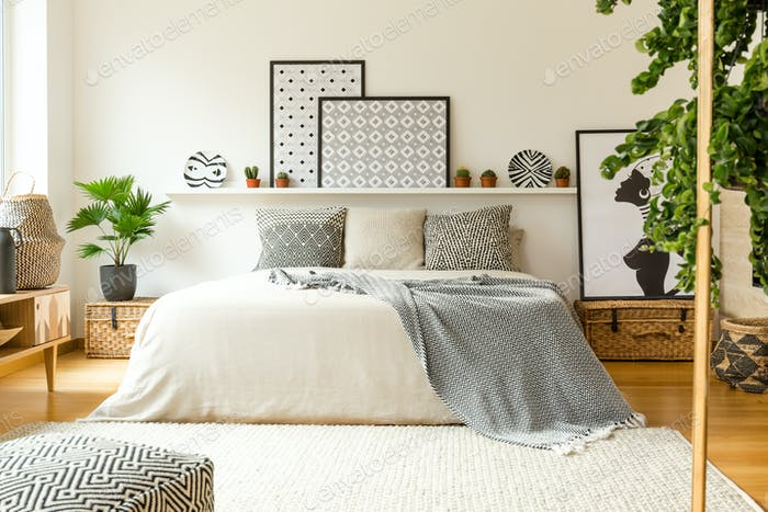 Warm bedroom interior