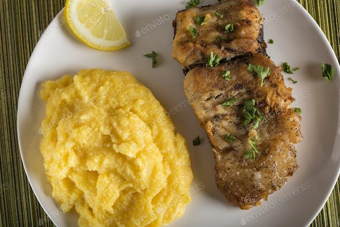 Fried mackerel with polenta