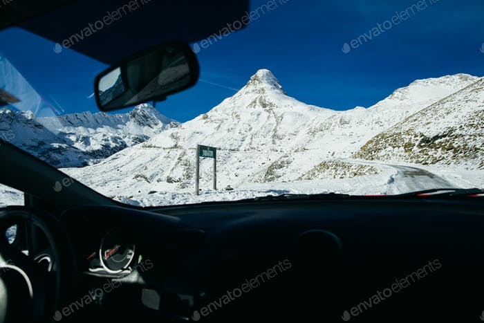 driving by car in mountains