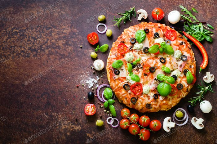 Food ingredients and spices for cooking delicious italian pizza. Mushrooms, tomatoes, cheese, onion