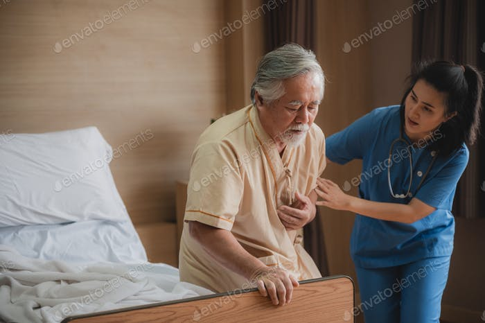 Heart disease health in senior old man person, coronary artery disease attack to elderly