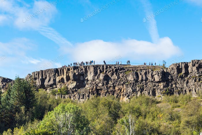 people at Observation Deck in Thingvellir park