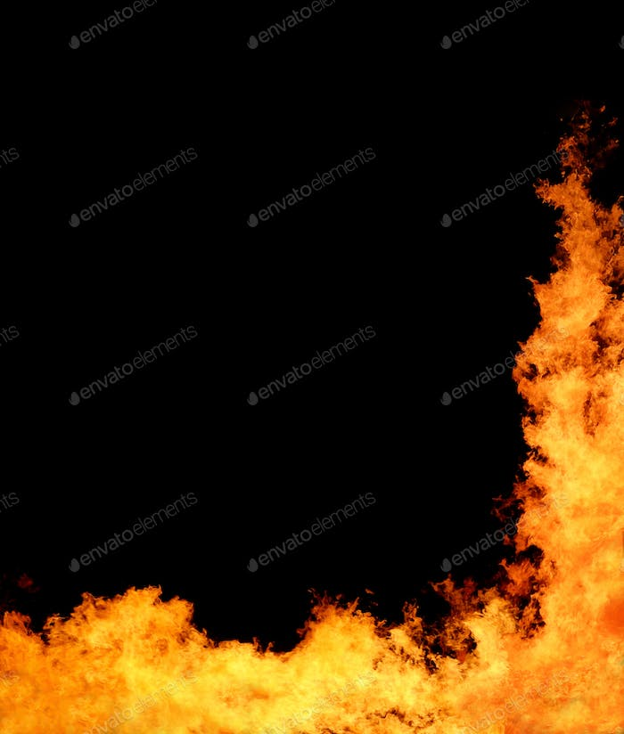 Abstract flame of fire on the black background.