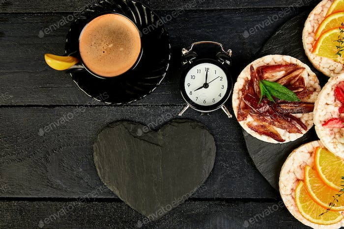 Breakfast for Valentines day with cup of coffee,