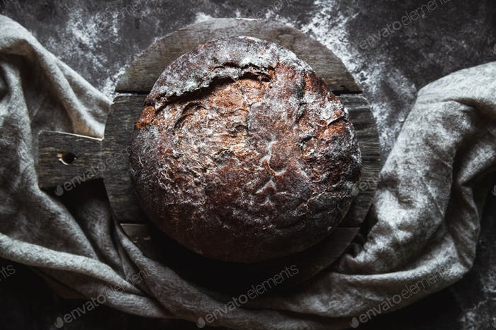 Fresh Baked bread on dark background