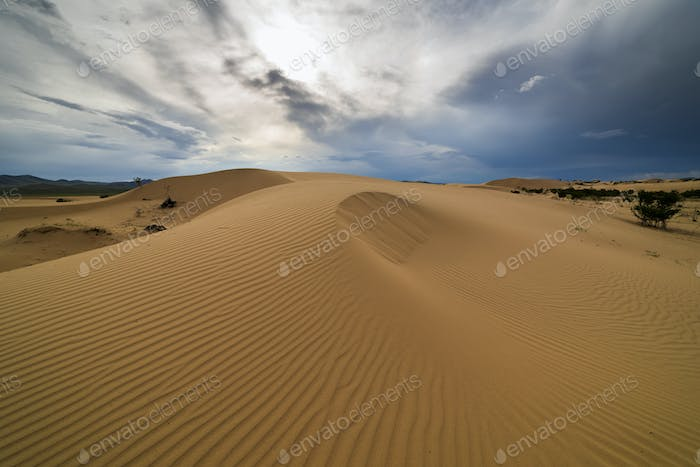 Storm clouds over sand dunes in the desert