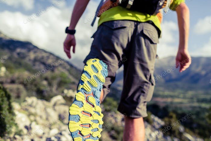 Hiking hiking or running with backpack shoes sole