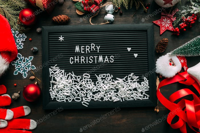 Merry Christmas message top view flat lay