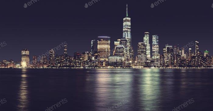 New York City panorama at night, USA.