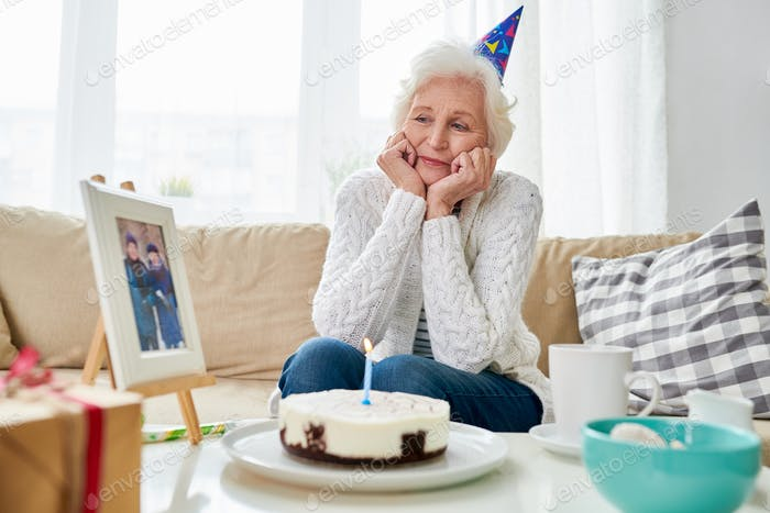 Lonely Senior Woman Celebrating Birthday