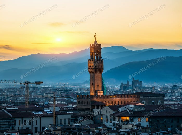 Tower of Florence at sunrise