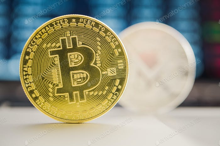 Bitcoin Virtual Currency Coin On Table.