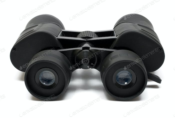 Binoculars Front View Isolated on a White Background