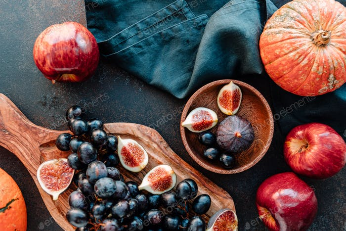Top view of Autumn food still life with season fruits and vegetables
