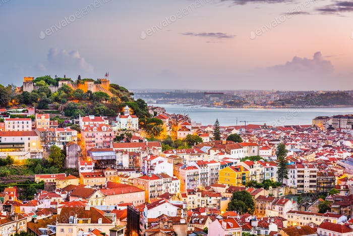 Lissabon, Portugal City Skyline