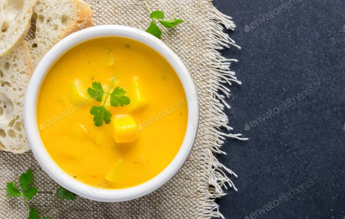 A Bowl of Pumpkin & Potato Vegetable Soup
