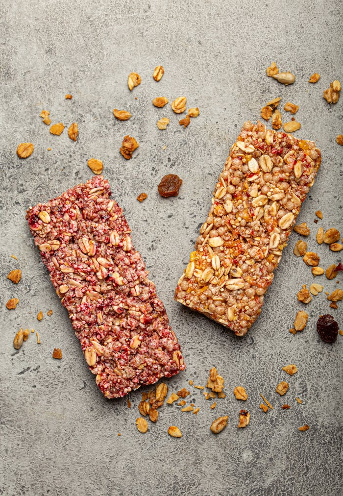 Healthy cereal granola bars from above