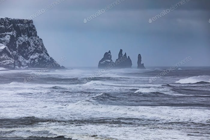 View from cape Dyrholaey on Reynisfjara Beach, Iceland