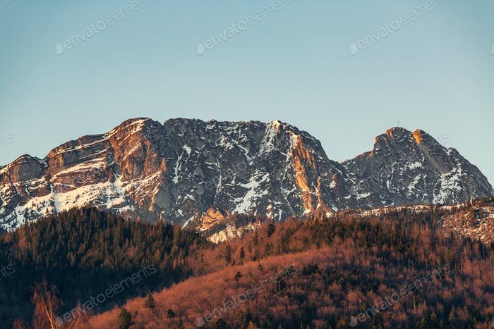 Inspiring Mountains Landscape in summer Tatras, Giewont Mountain