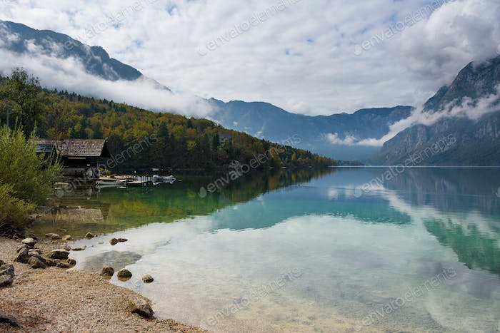 Cabin at the border of Bohinj Lake