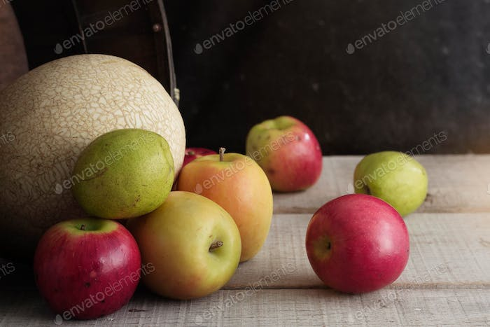 fruits on wooden floor