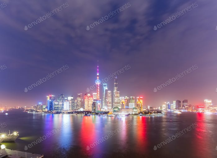 panoramic view of shanghai skyline at night
