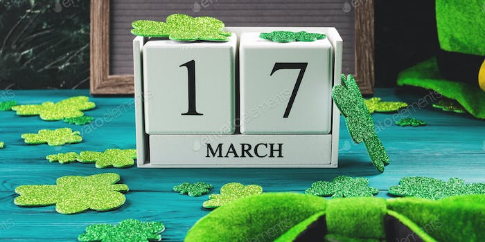 St Patricks Day date 17 march on wooden calendar