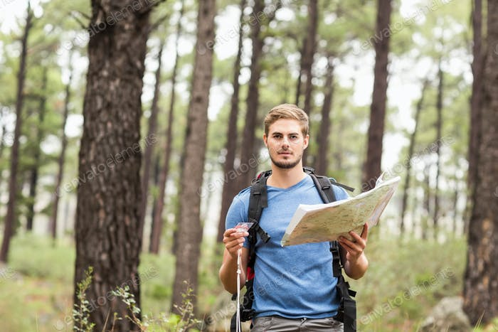 Young handsome hiker using map in the nature