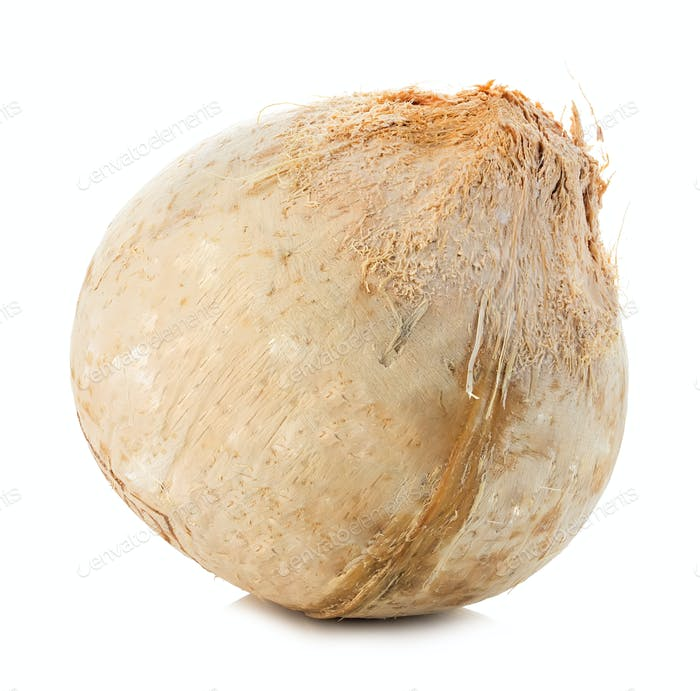 Young sweet coconut close-up isolated on white background.