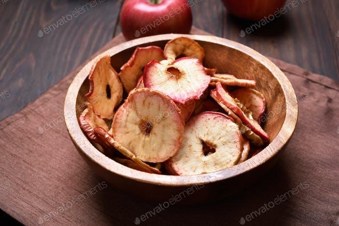 Äpfel Chips, gesunder Snack