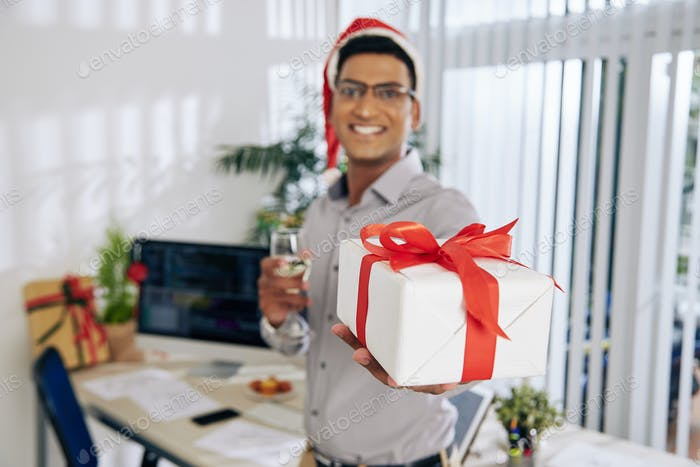 Coder giving Christmas present