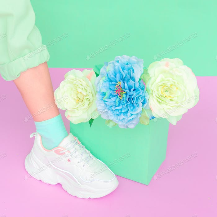Stylish shoes and roses