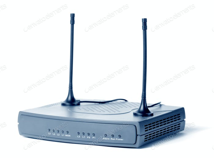 Nahaufnahme eines Internet-Modems und TV-Receivers