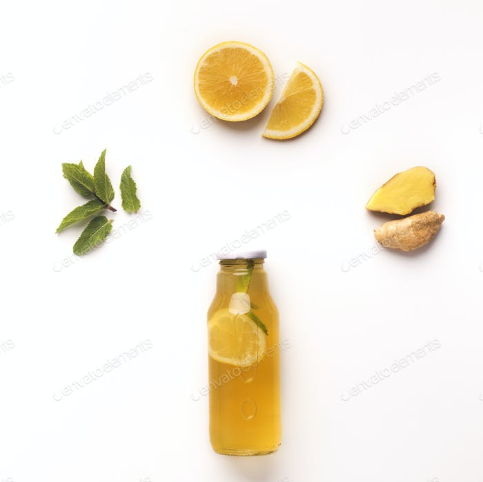 Mint, lemon and ginger mix isolated on white background