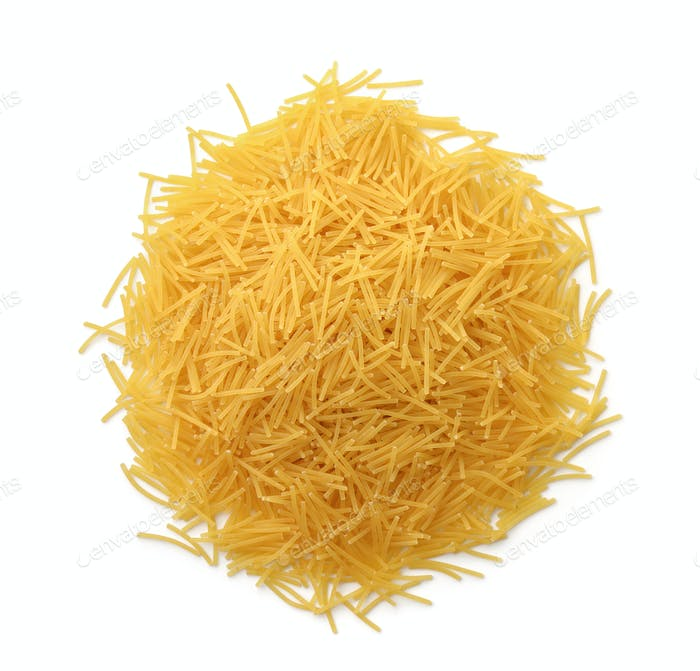 Top view of uncooked vermicelli pasta