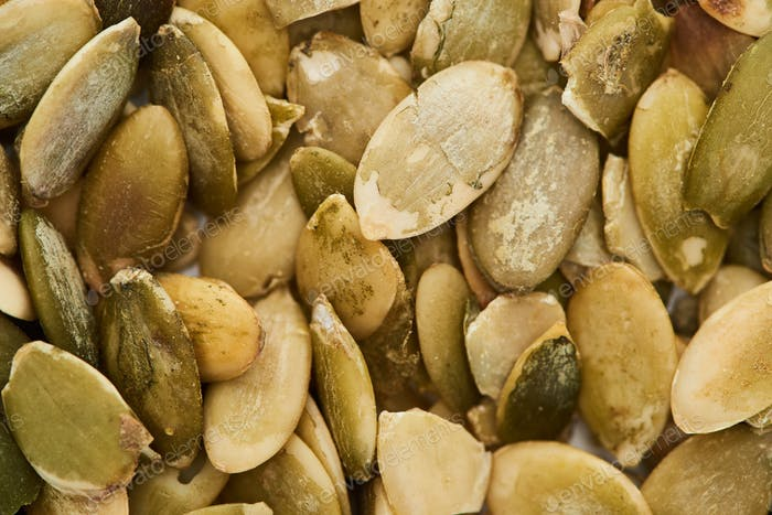 Close up View of Aromatic Roasted Pumpkin Seeds