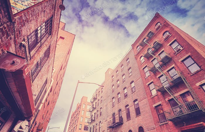 Vintage toned old buildings in Brooklyn Dumbo, New York.