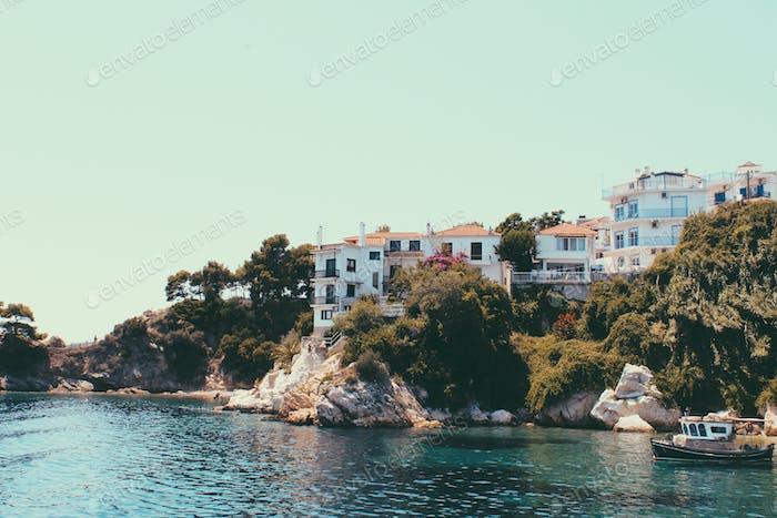 Griechische Insel Skiathos Sommer Reise Hintergrund, Urlaub, Entspannung.