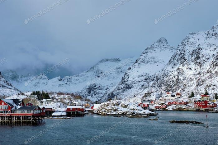 """A"" village on Lofoten Islands, Norway"