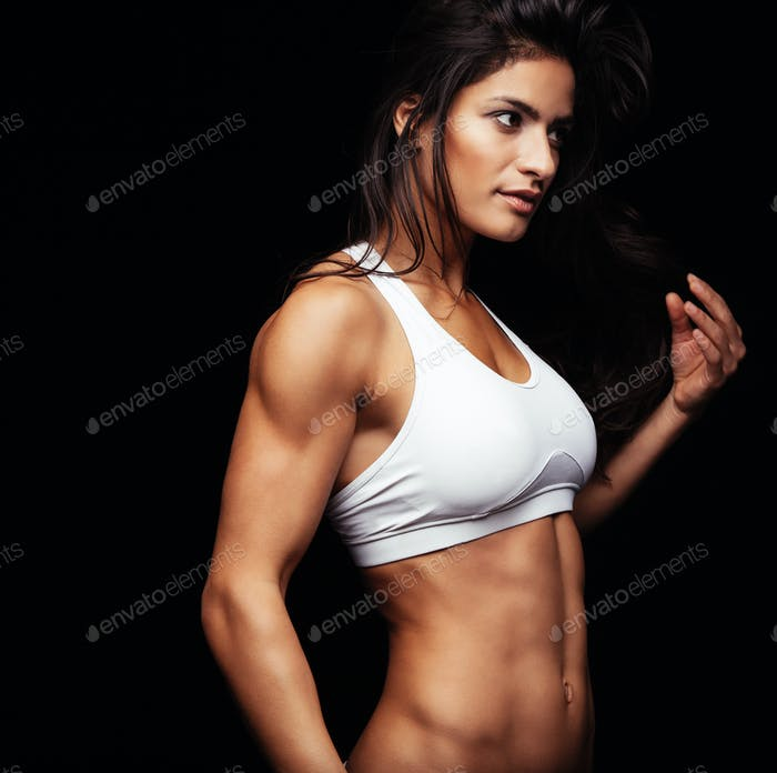 Fitness Frau Blick weg denken