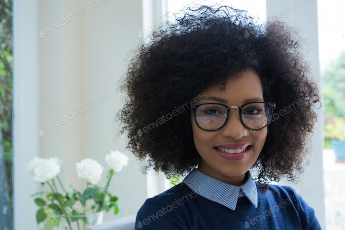 Beautiful woman wearing spectacles